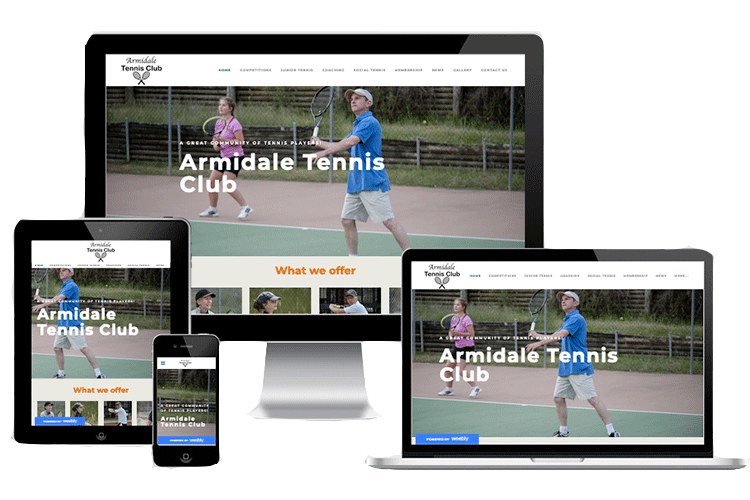 Armidale Tennis Club website displaying its responsive design on computer and different devices.