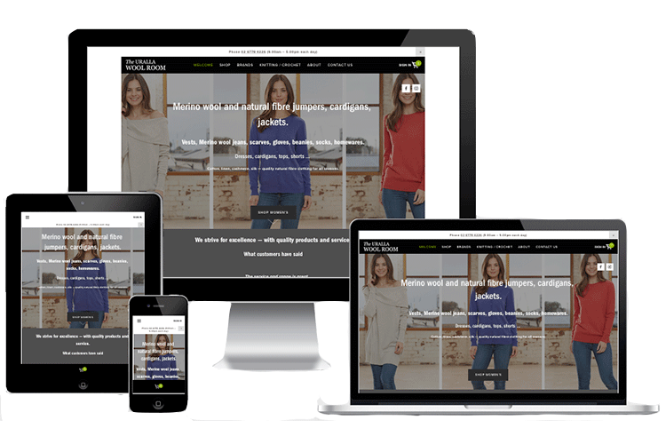 Uralla Wool Room website displaying on different devices demonstrating its responsive web design.