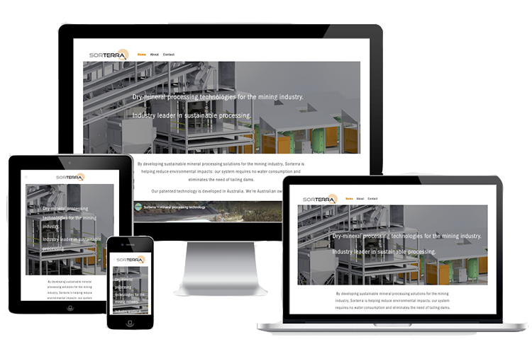 Sorterra website demonstrated as a responsive site on different desktop and mobile devices.
