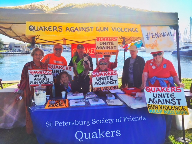 Our Quaker Outreach booth was located at Poynter Park on Bayboro Harbor across from the University of South Florida St. Petersburg Campus.
