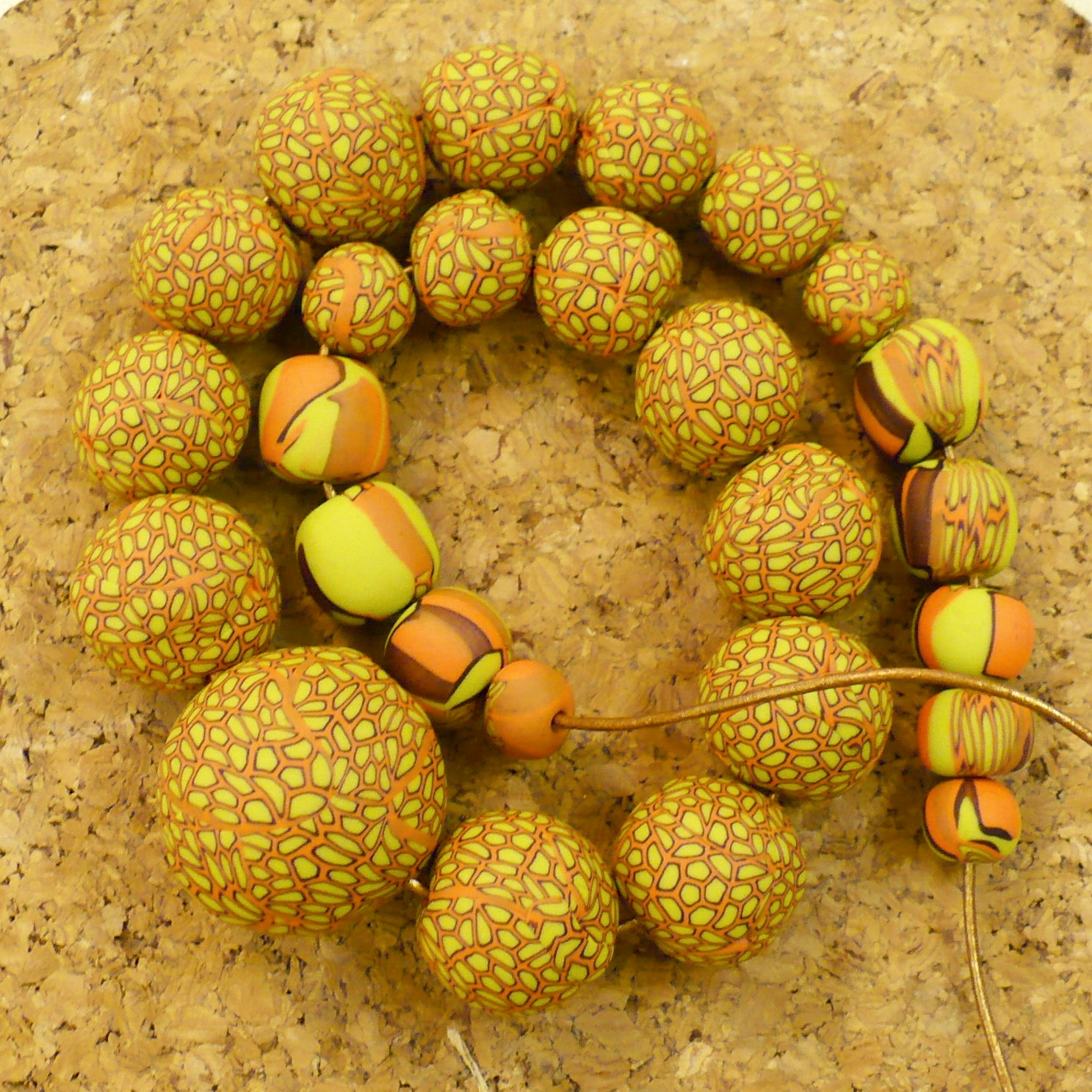 Orange and lime beads
