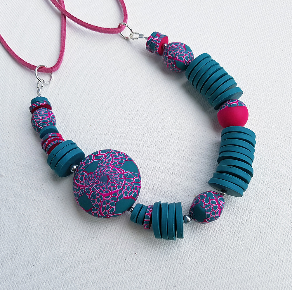 Kathy's striking jade and pink necklace