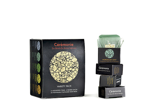 VARIETY PACK (20 Mini Cubes)   Sabores: English Breakfast, Moroccan Mint, Sencha Green, Lemongrass y Vervena, Chamomille.   UYU $870 (IVA incluido)