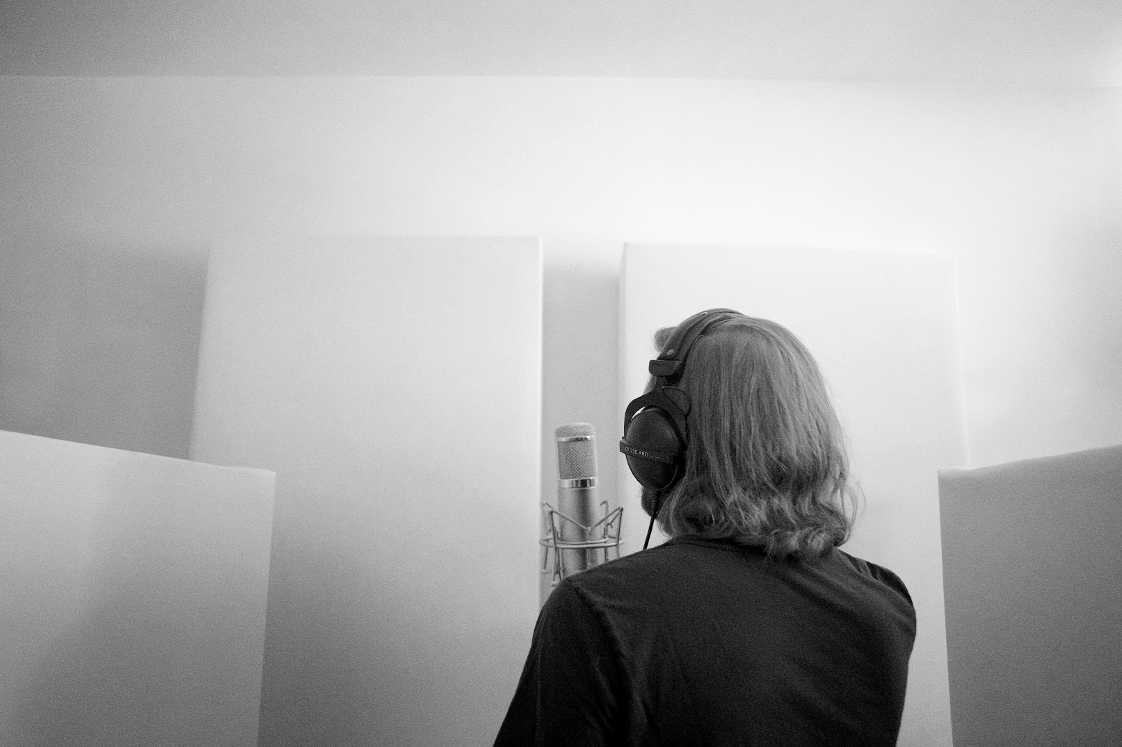 Tracking whistles in the studio. I think there were 6 overdubs of whistling.