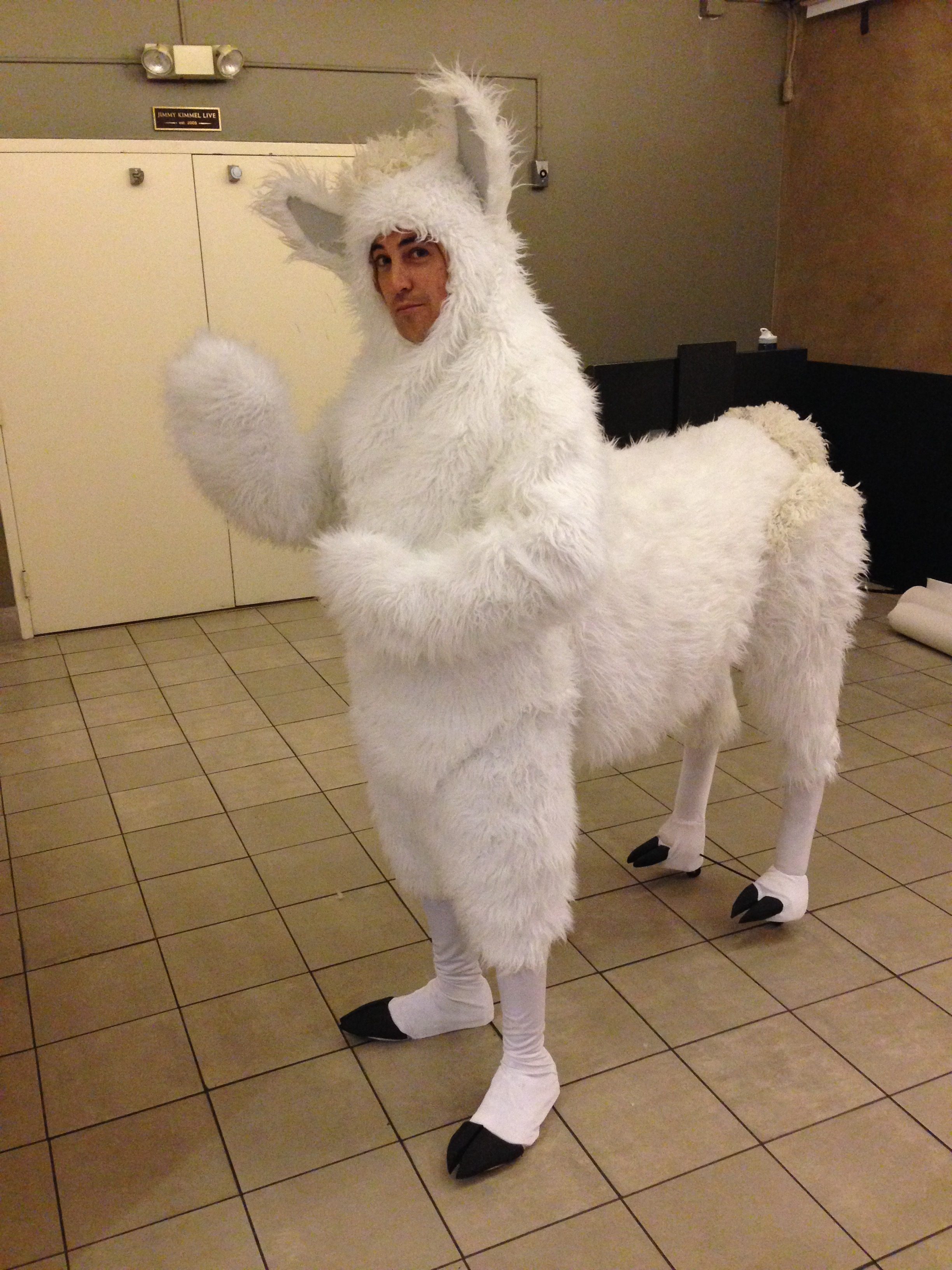 Jimmy Kimmel Halloween 2015-Llama Costume