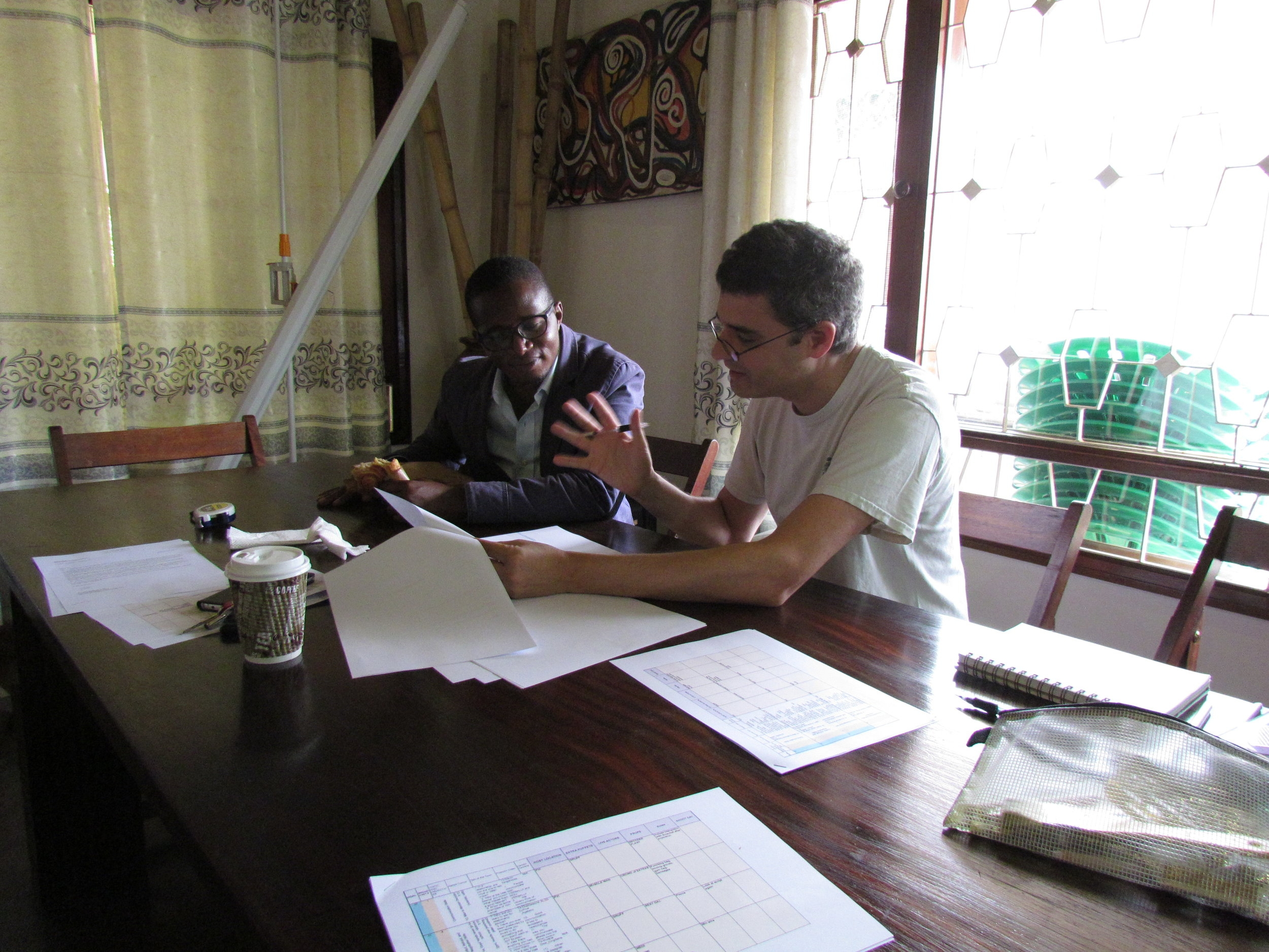Puppeteer David Feldman is also the writer for the segments for the scripts we are shooting. In addition to being an exceptional TV puppeteer he has two Emmy nominations for writing. Here he is making final changes to the script to make sure they will work for Ugandan audiences.