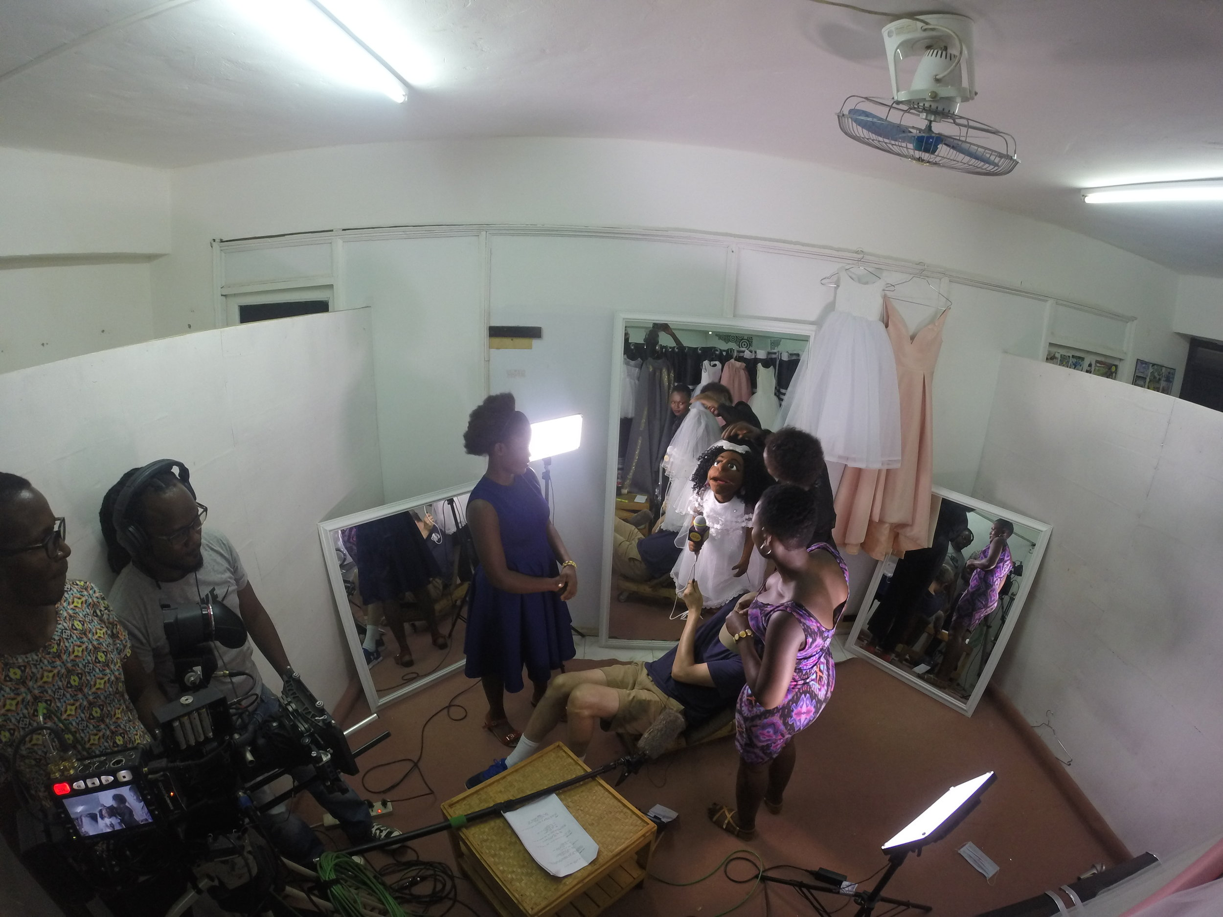 Shooting in a Bridal Shop in Kampala.