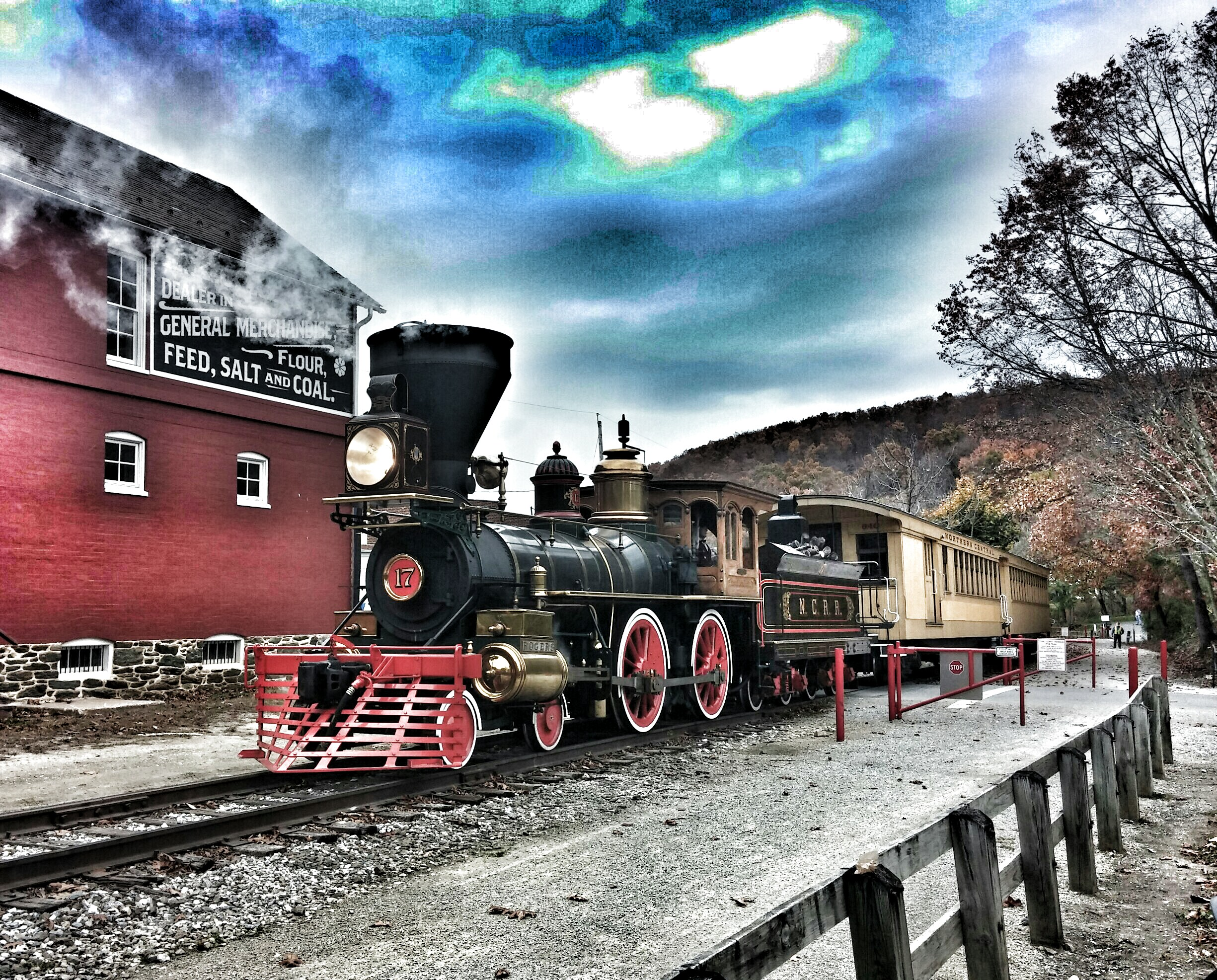 The Steam into History train in front of the partially restored Seitzland Store property