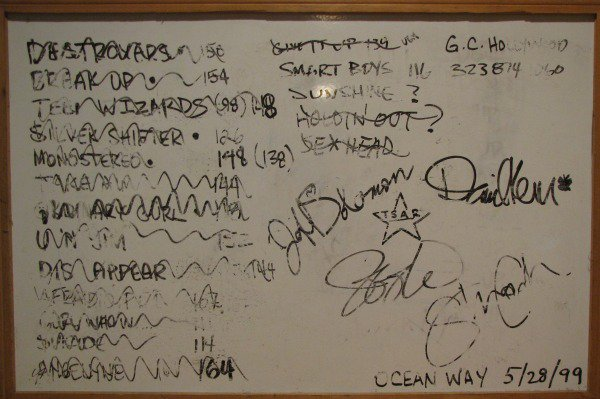 """whiteboard from """"Tsar"""" recording sessions"""