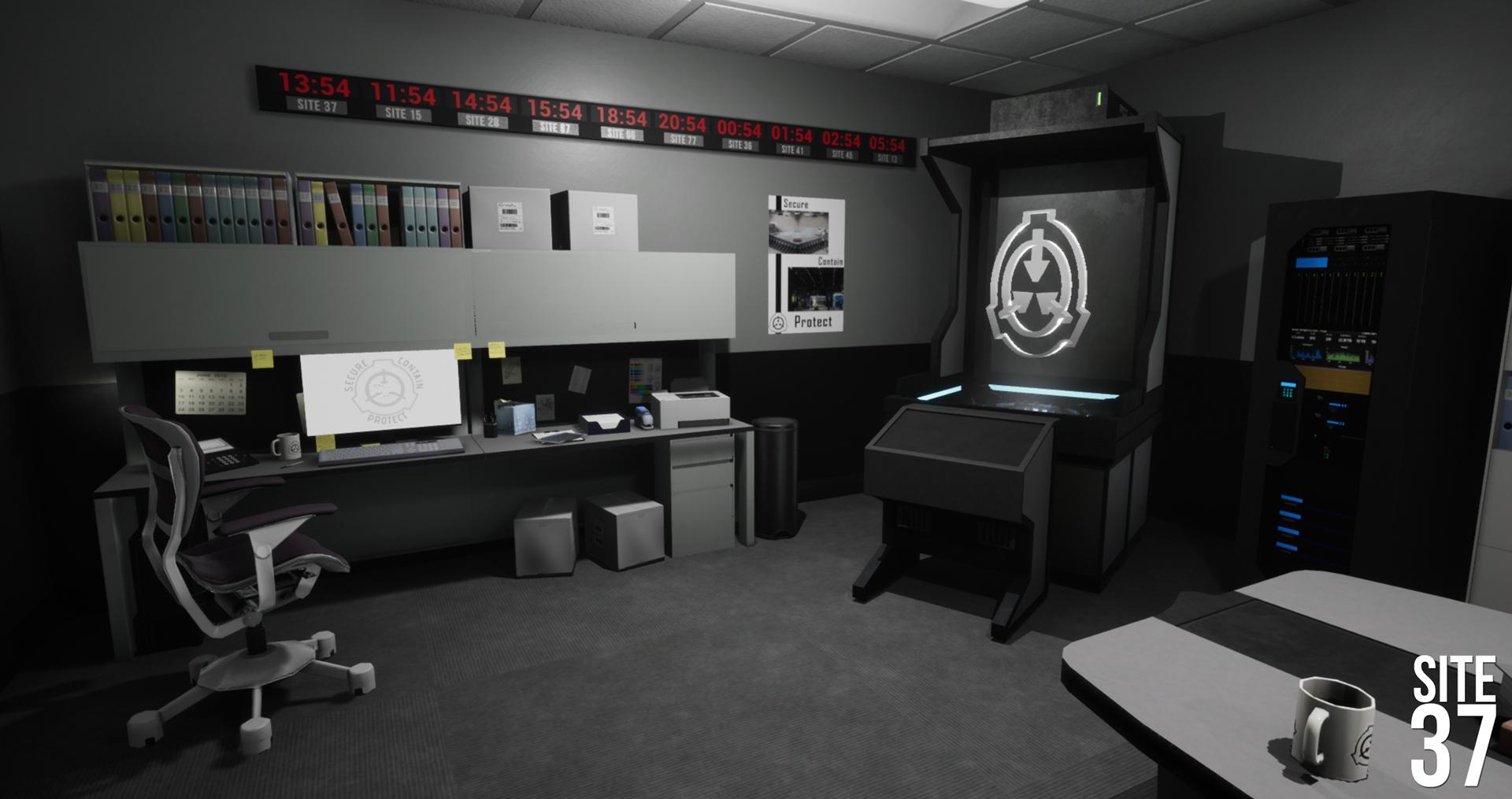 Desk, Projector, Server