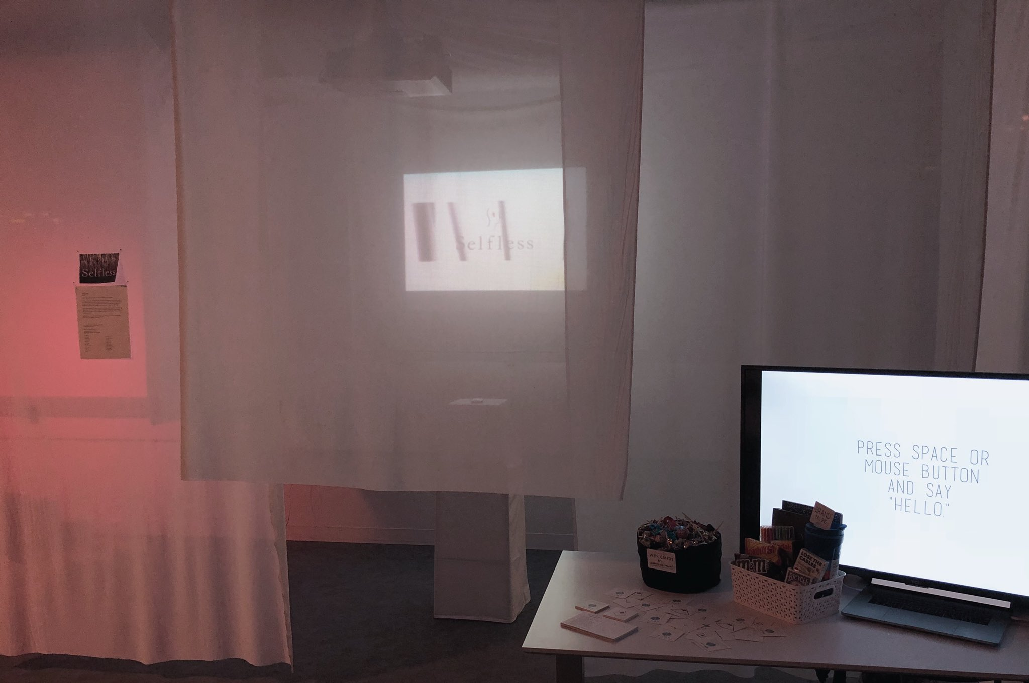 Selfless  debuted at the NYU Game Center End of Year show on May 17, 2018. We created an installation space — an intimate home of translucent cloth, a home halfway from being made.