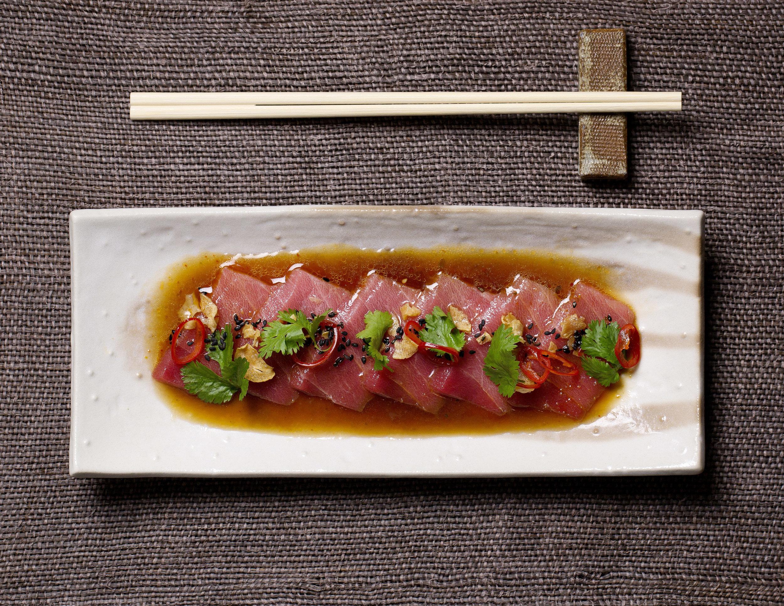 thinly sliced semi fatty tuna, chilli, coriander and sesame - chu toro no oasashimi kousou fuumi.jpg