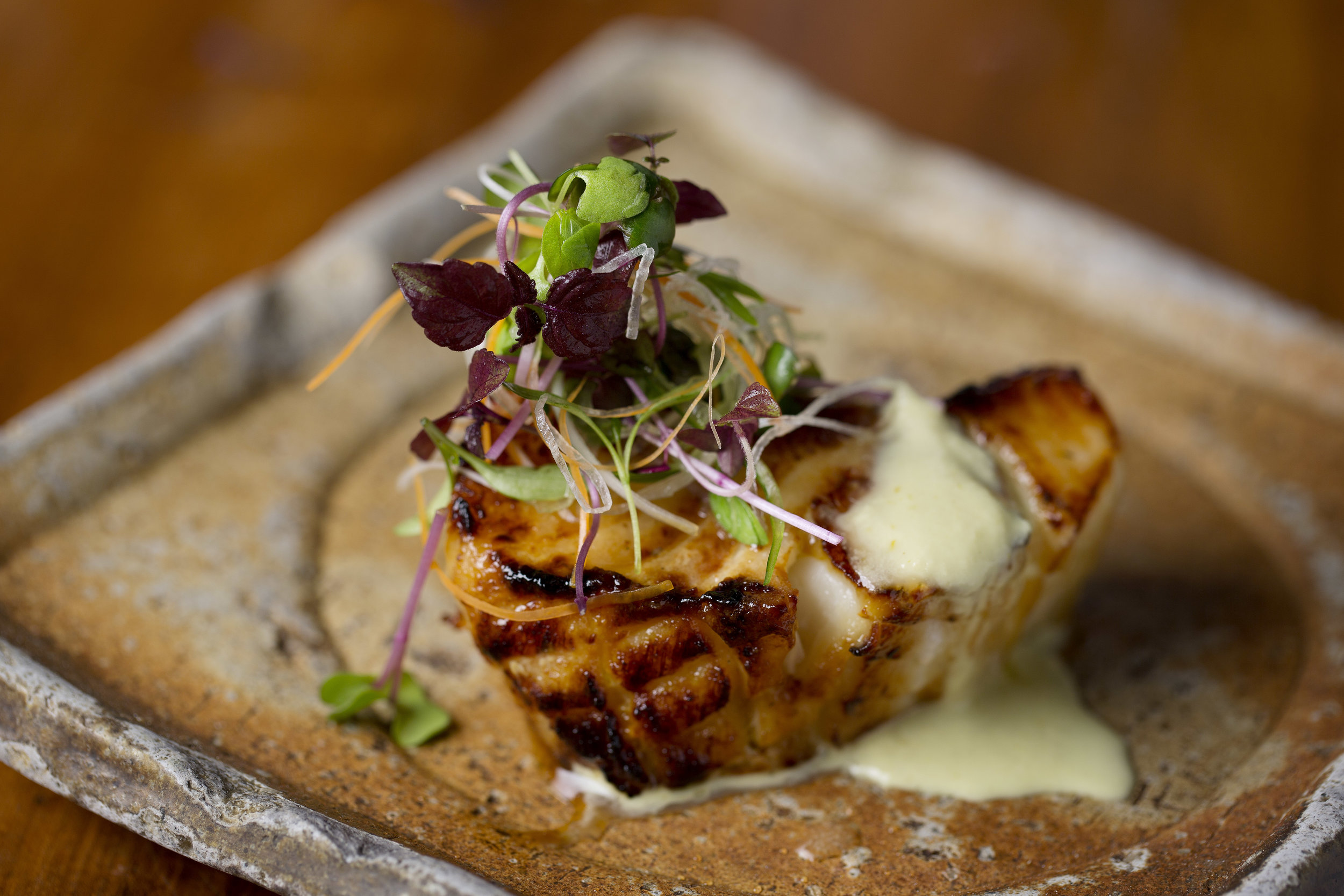 grilled chilean seabass with green chilli, ginger dressing - ainame no koumi yaki to kousou.jpg