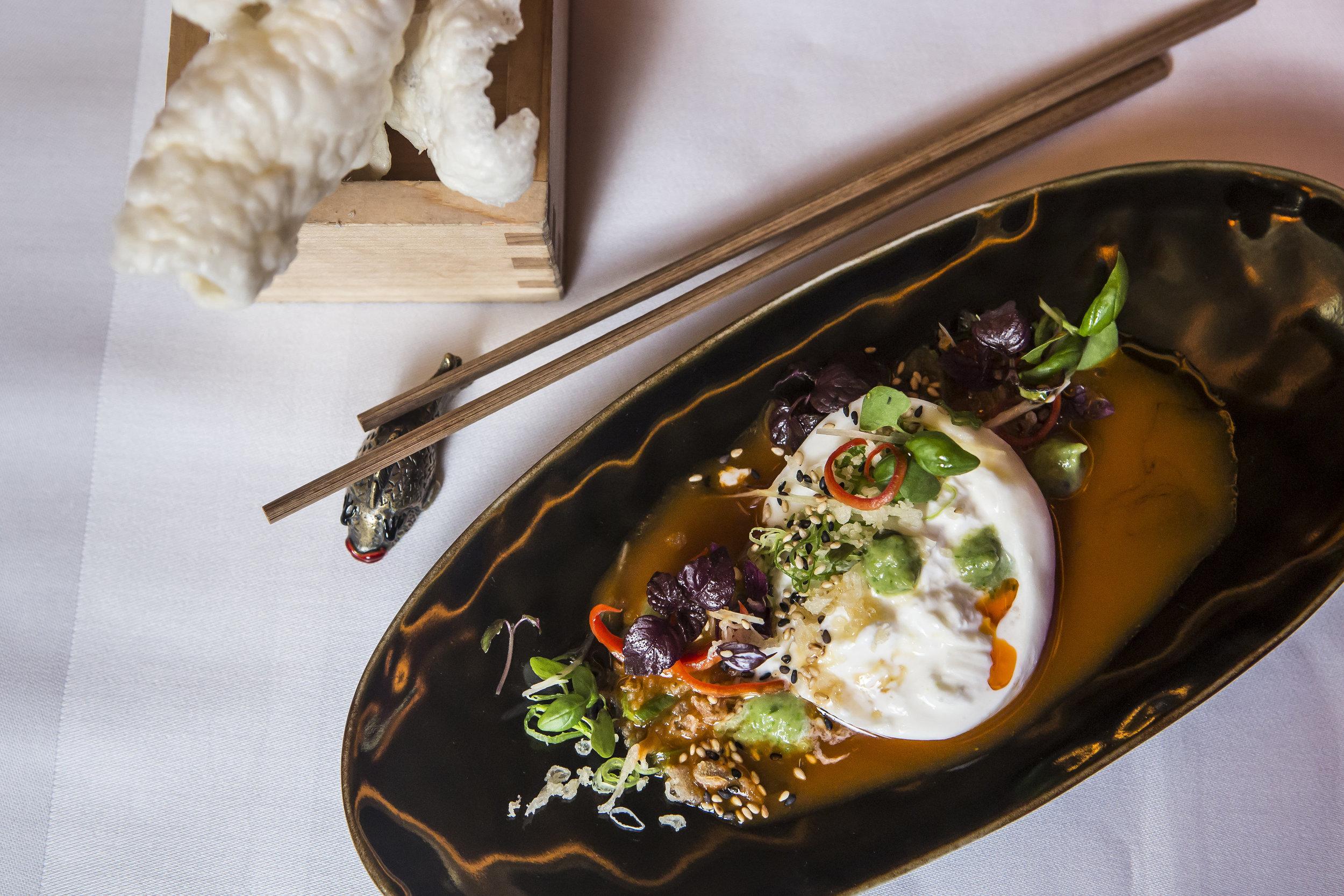 Sexy Fish, burrata and kimchi salad