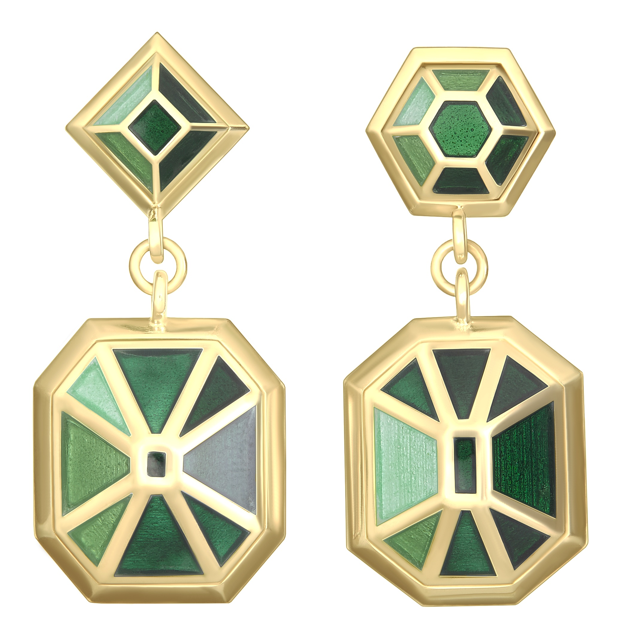 Double Bluff Earrings - Emerald Gold
