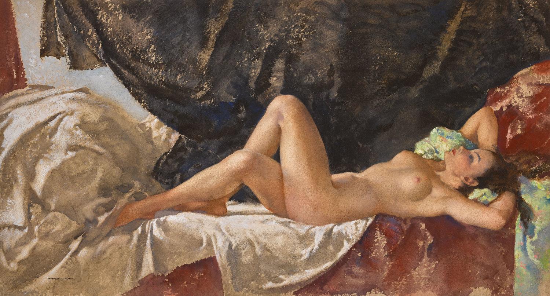 Sir William Russell Flint, Jasmin, 1950 (est. £50,000-70,000), Erotic: Passion & Desire. Image credit: Sotheby's.