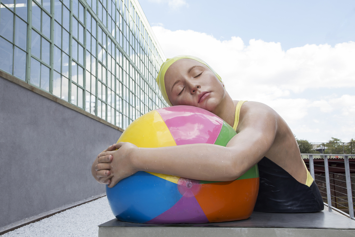 Brooke With Beach Ball Oil on resin sculpture - Original edition 8 ex + 4 AP