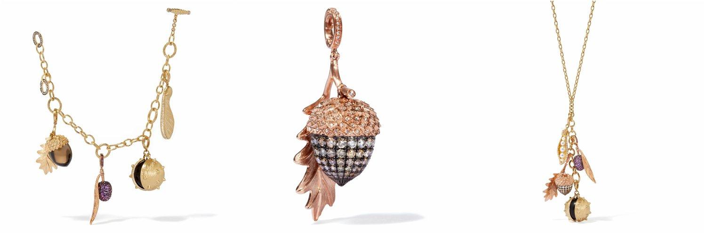 L-R: Annoushka 18ct Gold Mythology Seeds Charm Bracelet, Annoushka 18ct Rose Gold & Diamond Mythology Acorn Charm and Annoushka 18ct Rose Gold & Diamond Mythology Acorn Charm