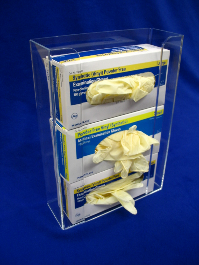 "Triple Glove Box Dispenser   Item #  1100-1575  Price:  $42.00 each  Dimensions : 11.00"" W x 15.75"" H x 3.75"" D Dim. I.D."