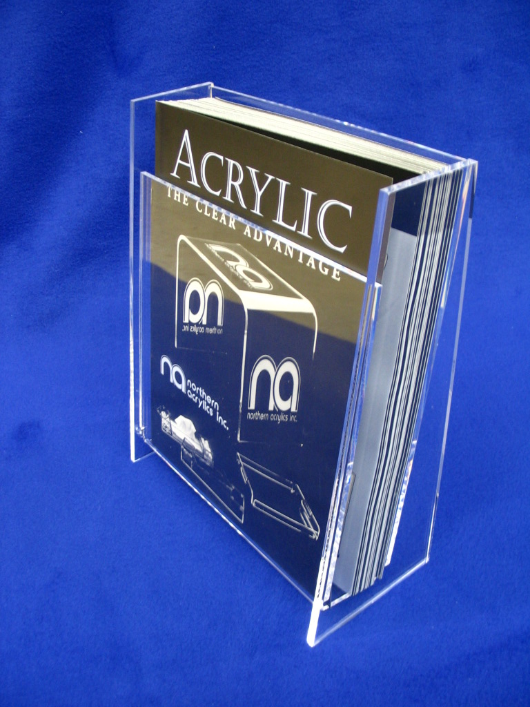 """Literature Holder   Item #  LH-9000  Price:  $24.45 each  Dimensions:  9.50"""" W x 11.75"""" H x 4.50"""" D Dim. O.D. Designed to accommodate 8.50"""" x 11.00"""" literature, 2.00"""" I.D. depth. Constructed from 3/16"""" and 1/4"""" clear acrylic. Machined, polished edges. A nice contemporary, clean look."""