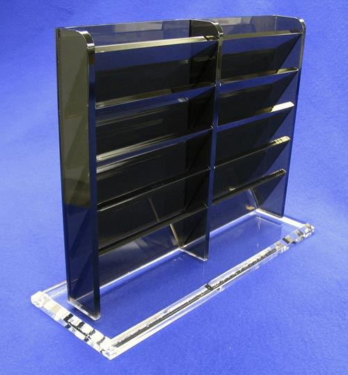 """Appointment Card Tower (10 Unit)   Item #  11750-10  Price:  $80.90 each  Dimensions:  11.75"""" W x 9.00"""" H x 4.00"""" D Dim. O.D. Organize all your appointment cards with our towers. We build them with the department's needs in mind. constructed from 1/4"""" bronze and 1/2"""" clear acrylic. clear non-skid feet on the base keeps them in place. Custom sizes available."""