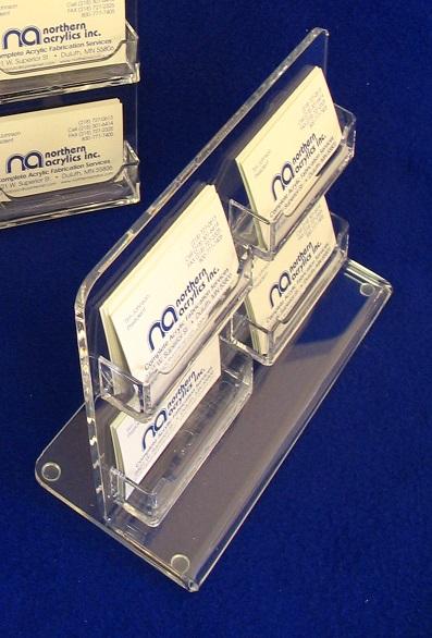 "Multiple Business Card Holder (4 Card)  I tem #  MBCARD-4  Price:  $17.50 each  Dimensions:  9""x6.5"" w/4"" base"