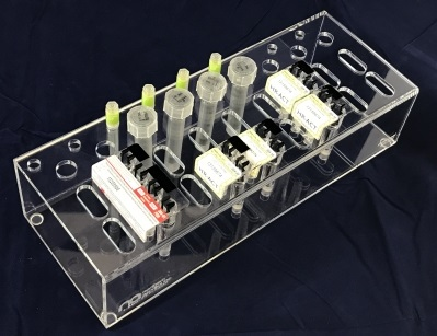 Hemostasis Management Cartridge Tray - 4 Channel   Item #  HMS-4C  Price:  $55.50 per unit Designed to fit the Medtronic cartridges for evaluating clotting factors and parameters involving blood management utilizing the Medtronic HMS machine. For cardboard-free storage and and transport of ACT cartridges, syringes and needles in the surgical suites.
