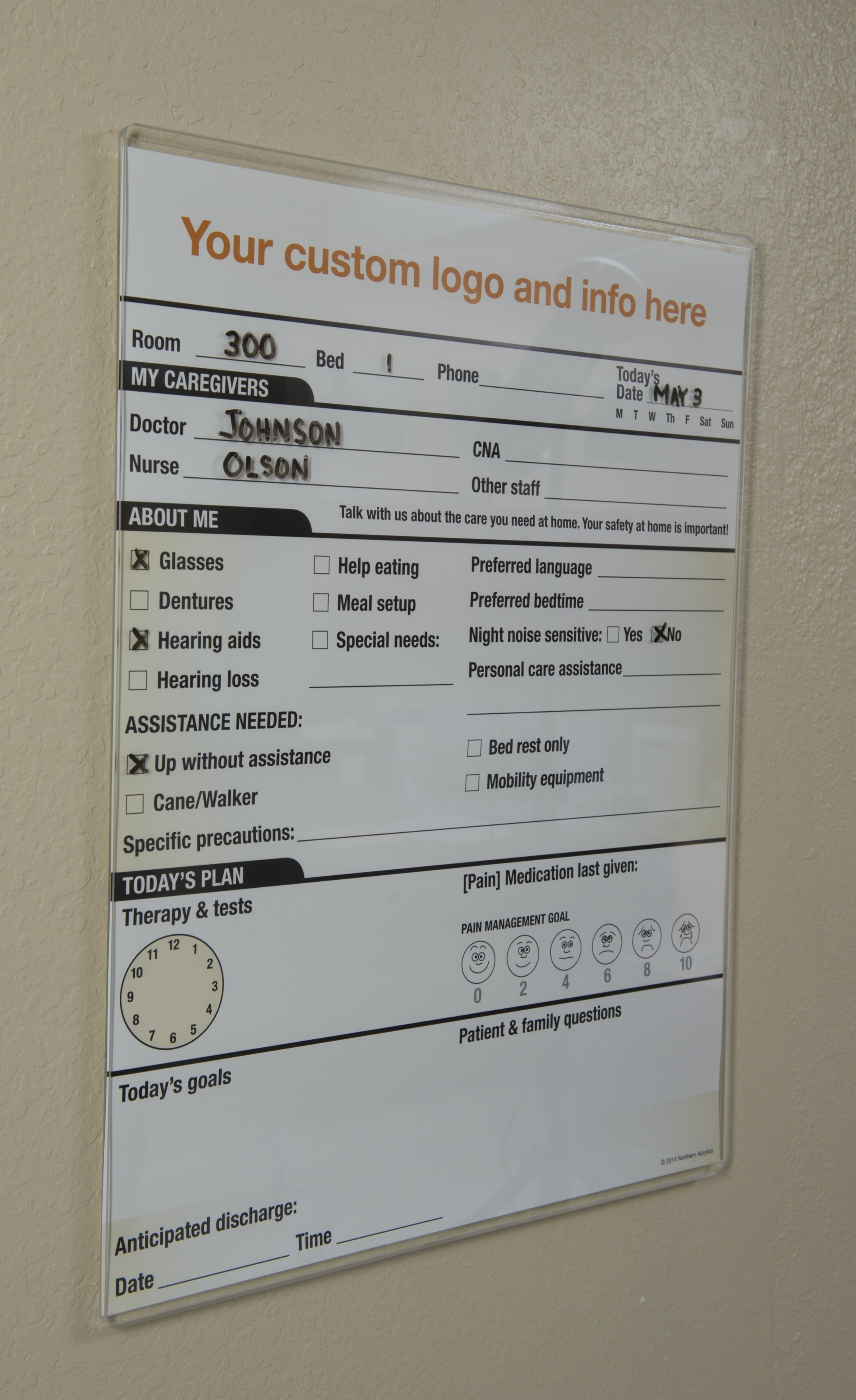 """Dry Erase Patient Care Board   Item #  PCB-1824  Price:  $56.95 each  Dimensions:  18"""" H x 24""""D x .354"""" OD (to fit an 18"""" x 24"""" graphic) Key hole hangers for wall mounting. Marker/eraser pocket included. Many sizes available, quotes upon request. Addition of graphic also available."""