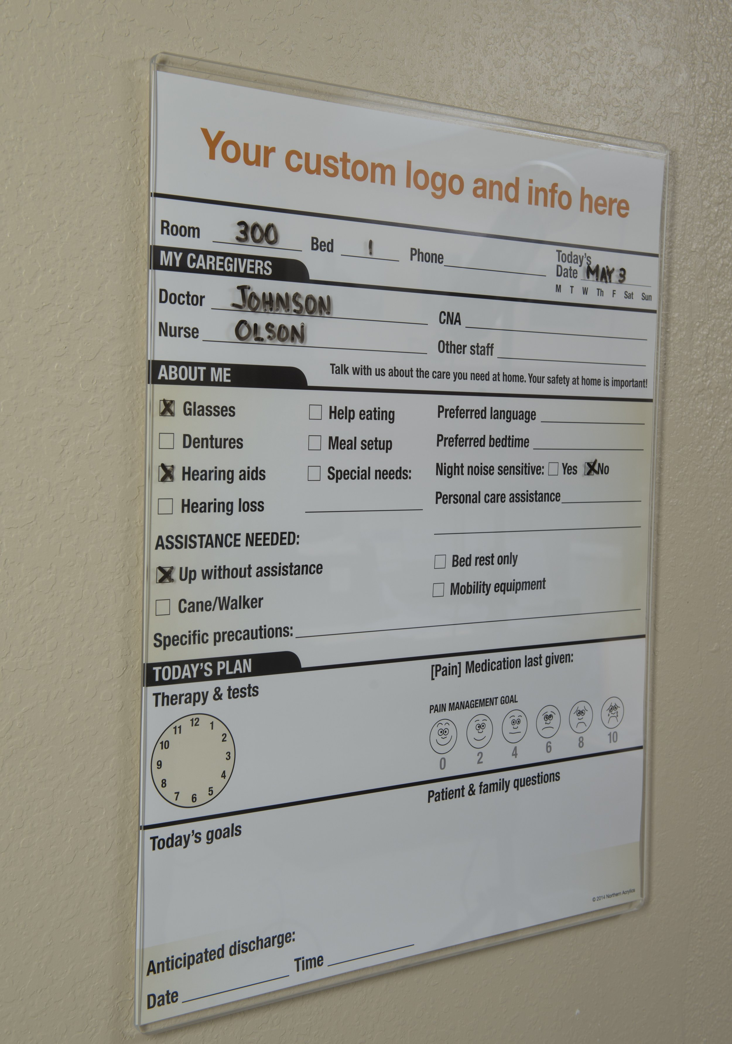 """Dry Erase Patient Care Board   Item #  PCB-1824  Price:  $56.95  Dimensions:  18.062"""" H x 25""""D x .345"""" OD (to fit an 18"""" x 24"""" graphic) Key hole hangers for wall mounting. Marker/eraser pocket included. Many sizes available, quotes upon request. Addition of graphic also available."""