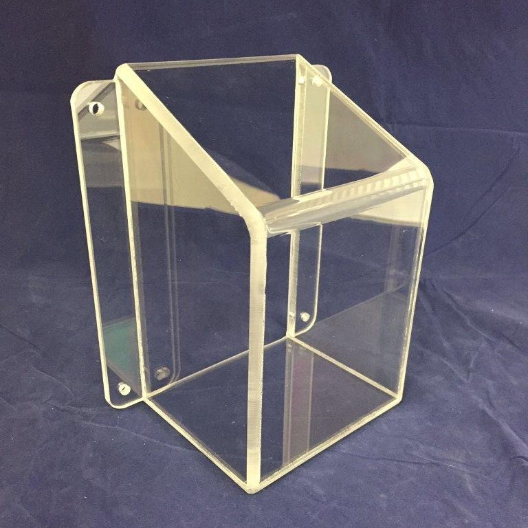 "Clear Polycarbonate Light Cover   Price:  $44.82 ea.  Dimensions:  5.00"" W x 8.00"" H x 4.00"" D; 2-flange mounting.  1/4"" clear polycarbonate impact-resistant material. Compliant for mental health care facilities, other custom sizes available upon request."