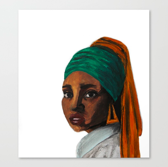"""Girl with the Doorknockers"" canvas print  starting from $85.99"