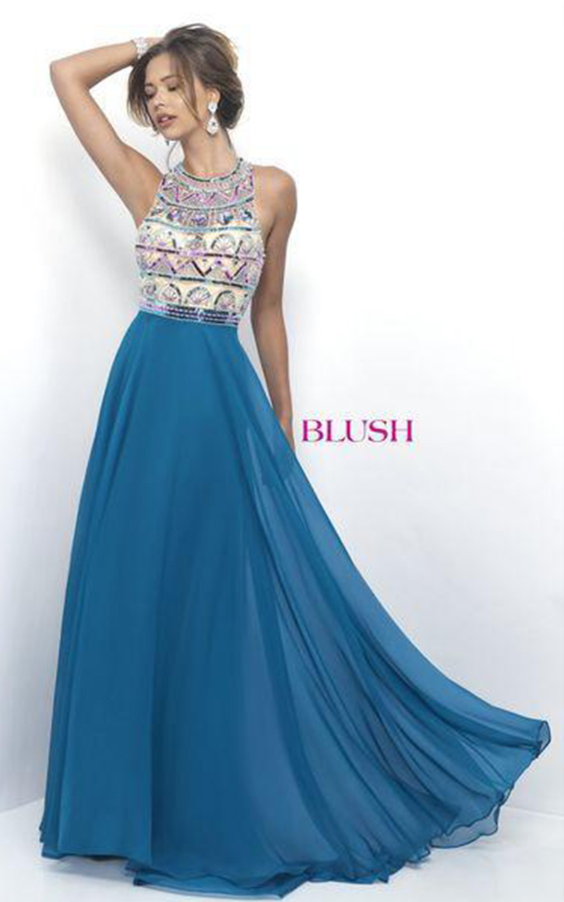 Blush | Style 11349  Size 8, Teal Blue