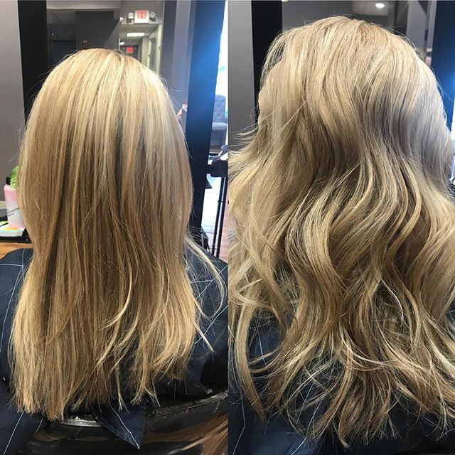 Cooler weather coming means warmer toned blondes! Isn't the difference between straight and curled amazing?! Color and Style by Kelli