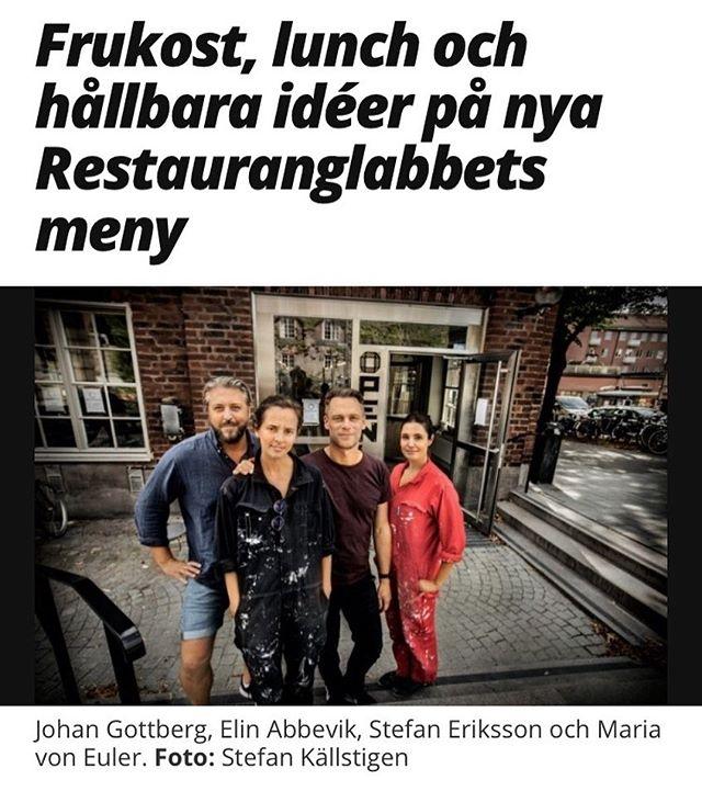 """""""Två kockar, två designers, en expert på nya hållbara material och en ekonom. Det är gänget bakom stans nya krog Restauranglabbet – som utöver frukost och lunch serverar hållbara idéer."""" I Alltomstockholm.se idag"""