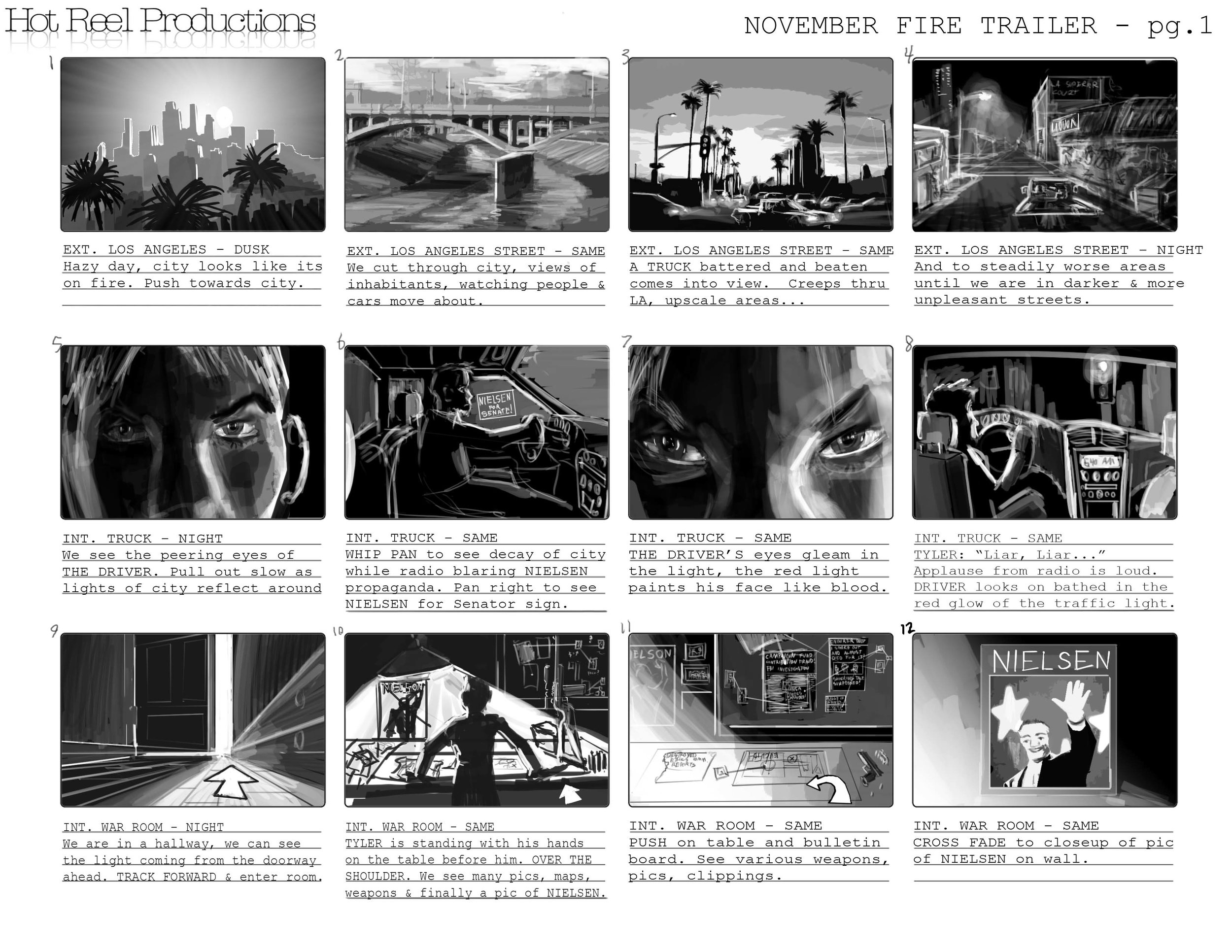 A storyboard for a trailer for November Fire. Copyright Hot Reel Productions.