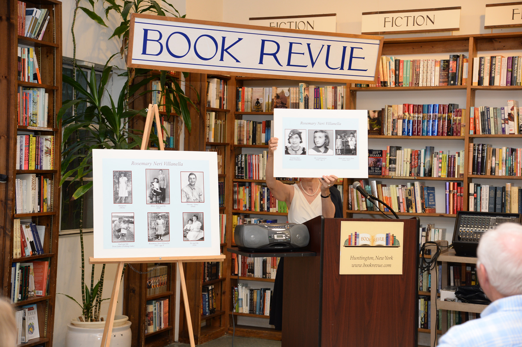 Personal family photos shared with her readers and discussed by Rosemary Neri Villanella at her book signing at  Book Revue , Huntington, NY, July 17th, 2017  (Photo by John Ellis Kordes)