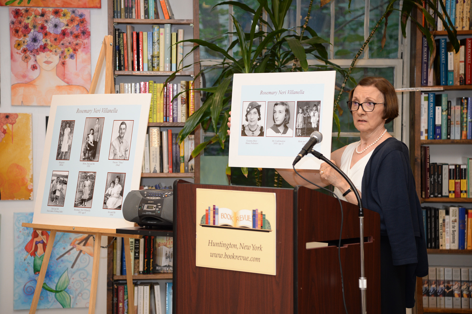 Rosemary Neri Villanella answers questions about her photo archive at  Book Revue , Huntington, NY, July 17th, 2017 (Photo by John Ellis Kordes)