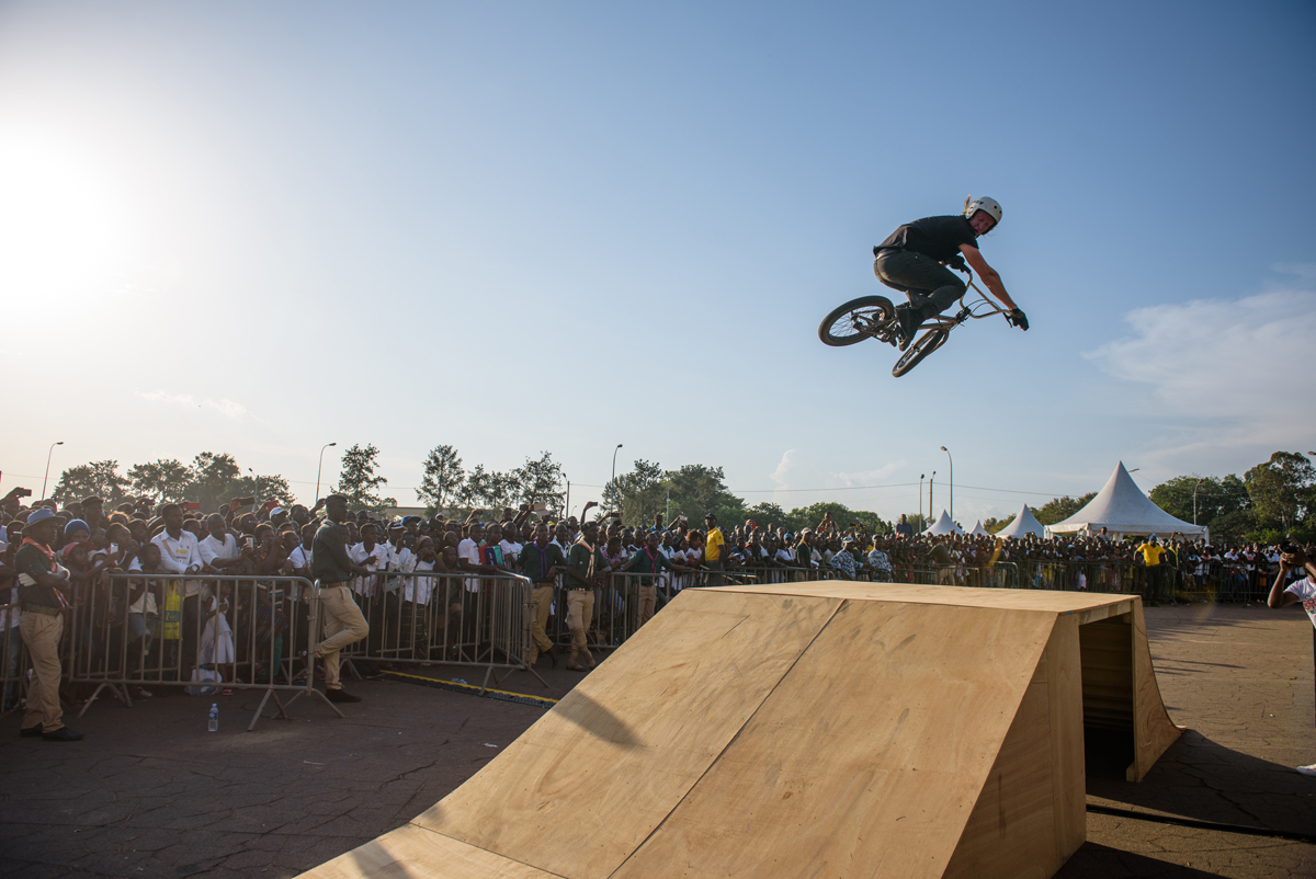 John Andrus performs tricks during the BMX demonstration.