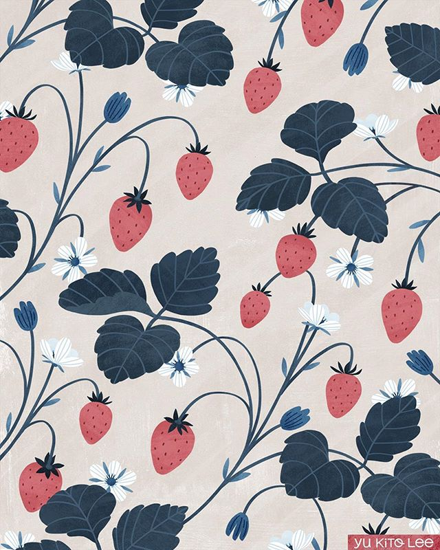 Some strawberries to make your day a bit sweeter💖 * * * #illustration #illustrator #illustratorsoninstagram #illustratorsofinstagram #drawing #art #cintiq #studio_yuey #yukitolee #strawberries #surfacepattern #surfacepatterndesign  #イラスト #イラストレーター #絵 #お絵描き #苺 #パターンアート #パターンデザイン