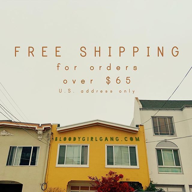 We're no Amazon and are working our hardest to make our products accessible for you. #bloodygirlgangdotcom will be offering a trial FREE US SHIPPING on all orders over $65! 📦 It will be available through the end of July and will be reassess if it's sustainable for a tiny business consisting of one employee - myself🤞🏽So share an order with a friend, reduce carbon footprints and score shipping for free for orders above $65 while this trial is on from now till August 1st 🎈 . . . #freeshippingusa #amazonprimeday #notamazonprime #shopsmalllove #onewomenshow #supportwomenartists #artistofcolor #sanfranciscolife #smallbusinesslife #primeday2019 #primeday #notjeffbezos #shopsmallshops #smallshoplove #gentrificationisreal #supportsmallbusinesses #imsickbuticantstopworking #supportwomenownedbusinesses #bloodygirlgang