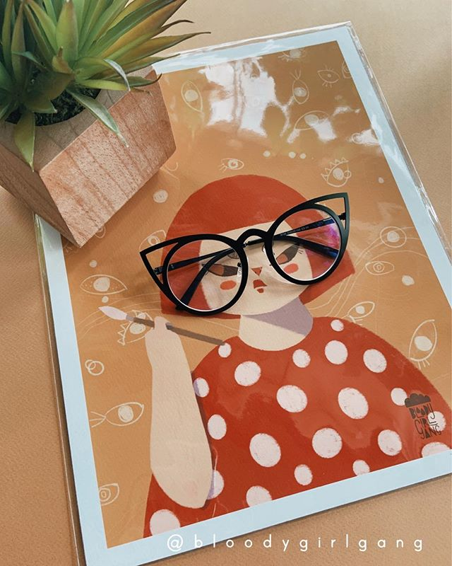 SOLD OUT most prints at our last pop-up and printing new ones to bring to @civiccentercommons tomorrow for Friday Farmers Market & Bazaar 11am - 3pm. . What do you think of my glasses 🤓 @yayoi_kusama.official? . . . #yayoi #yayoikusama #artistportrait #portraitofanartist #sideeyegang #ilovepolkadots #queenofpolkadots #UNPlaza #feministartactivism #japaneseartist #catladyglasses #cateyeglasses #bggwomxnartistsseries #wocartist #woc #feministartist #womenofcolorinart #artprints #asianartist #artistofcolor #asianwomeninart #bloodygirlgang