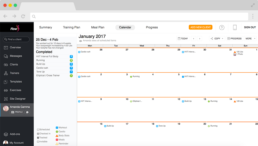 Calendar with daily workout/cardio/check-in tasks