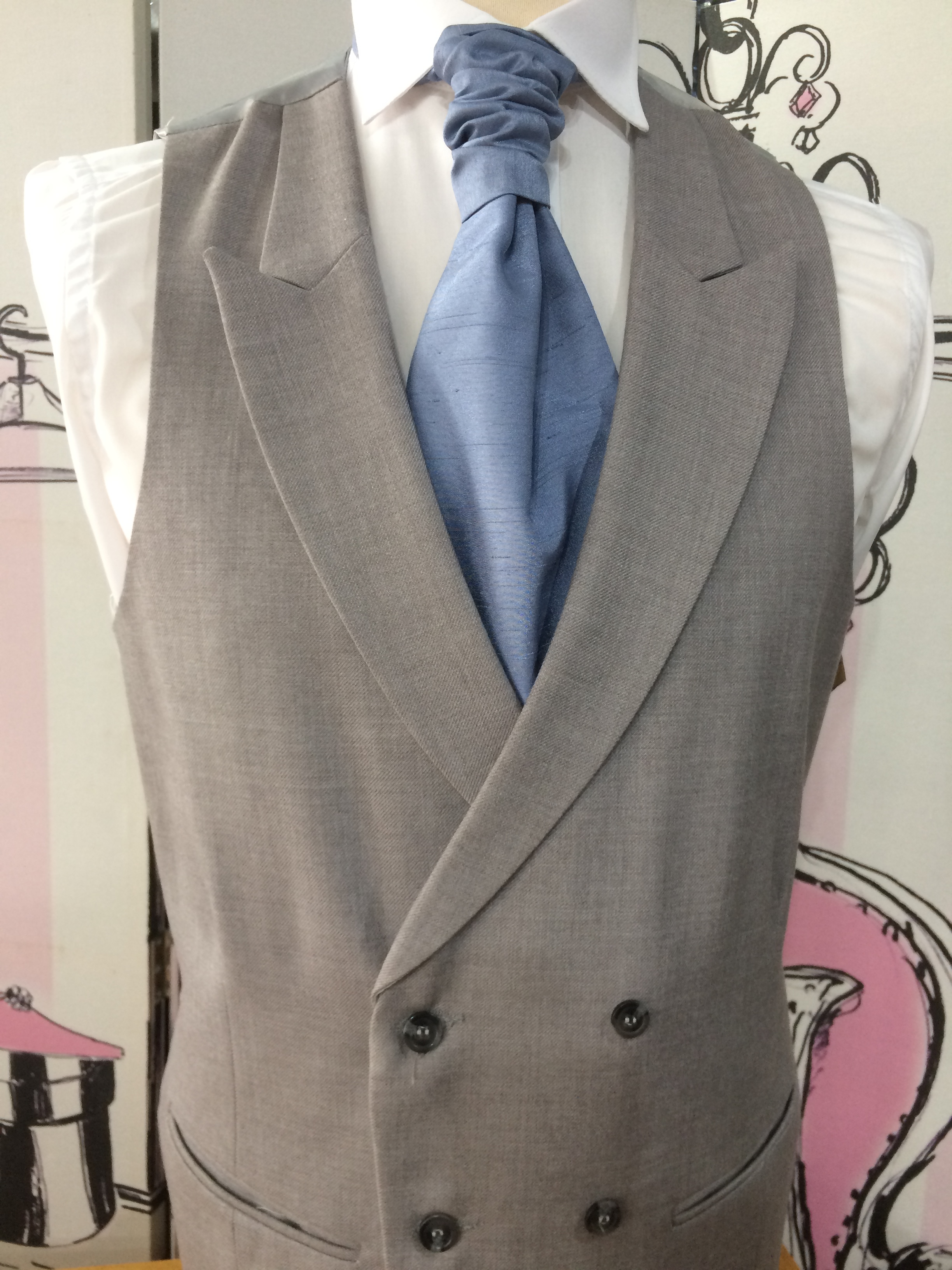 Double Breasted Ascot Grey