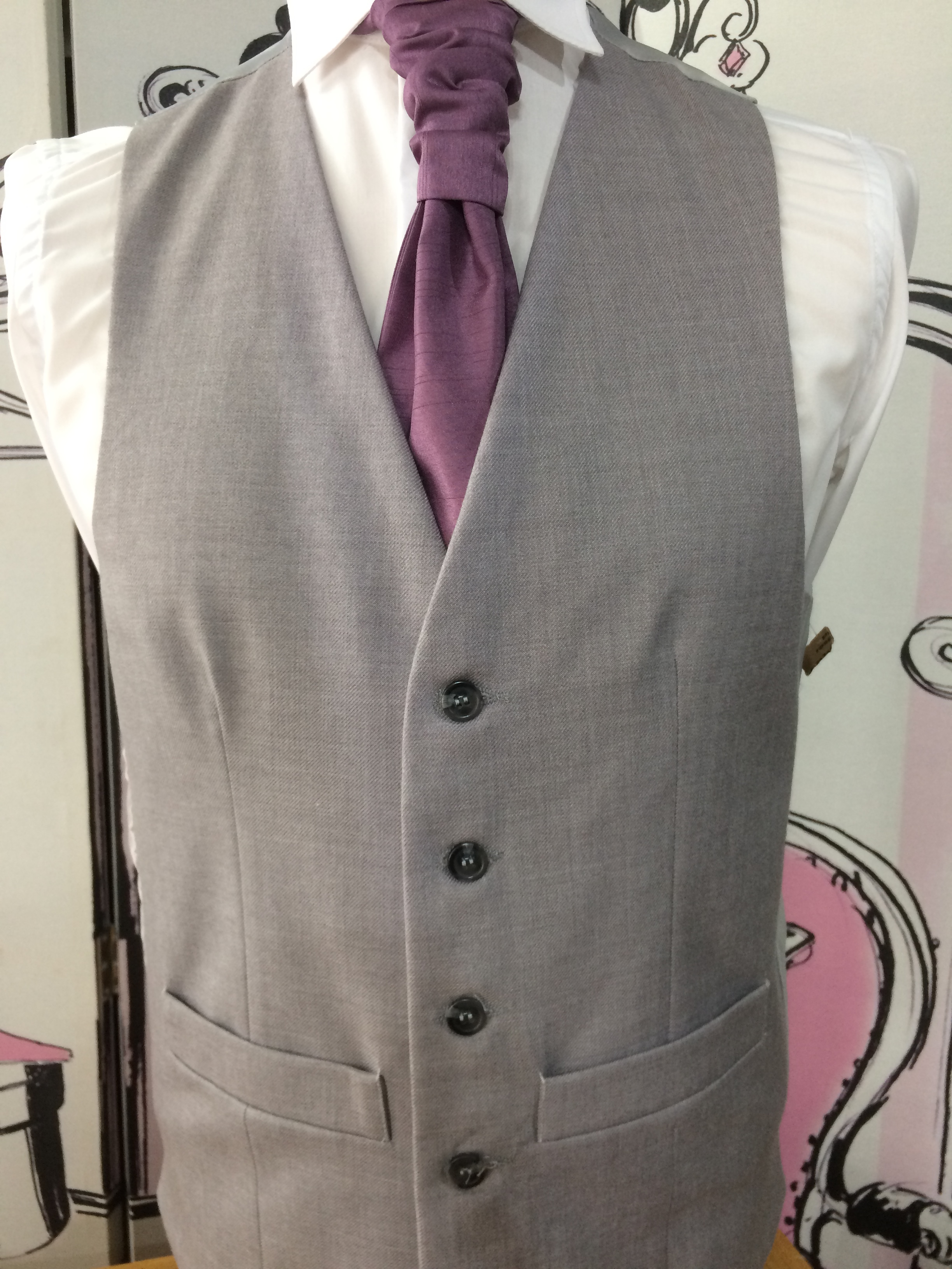 Single Breasted Ascot Grey
