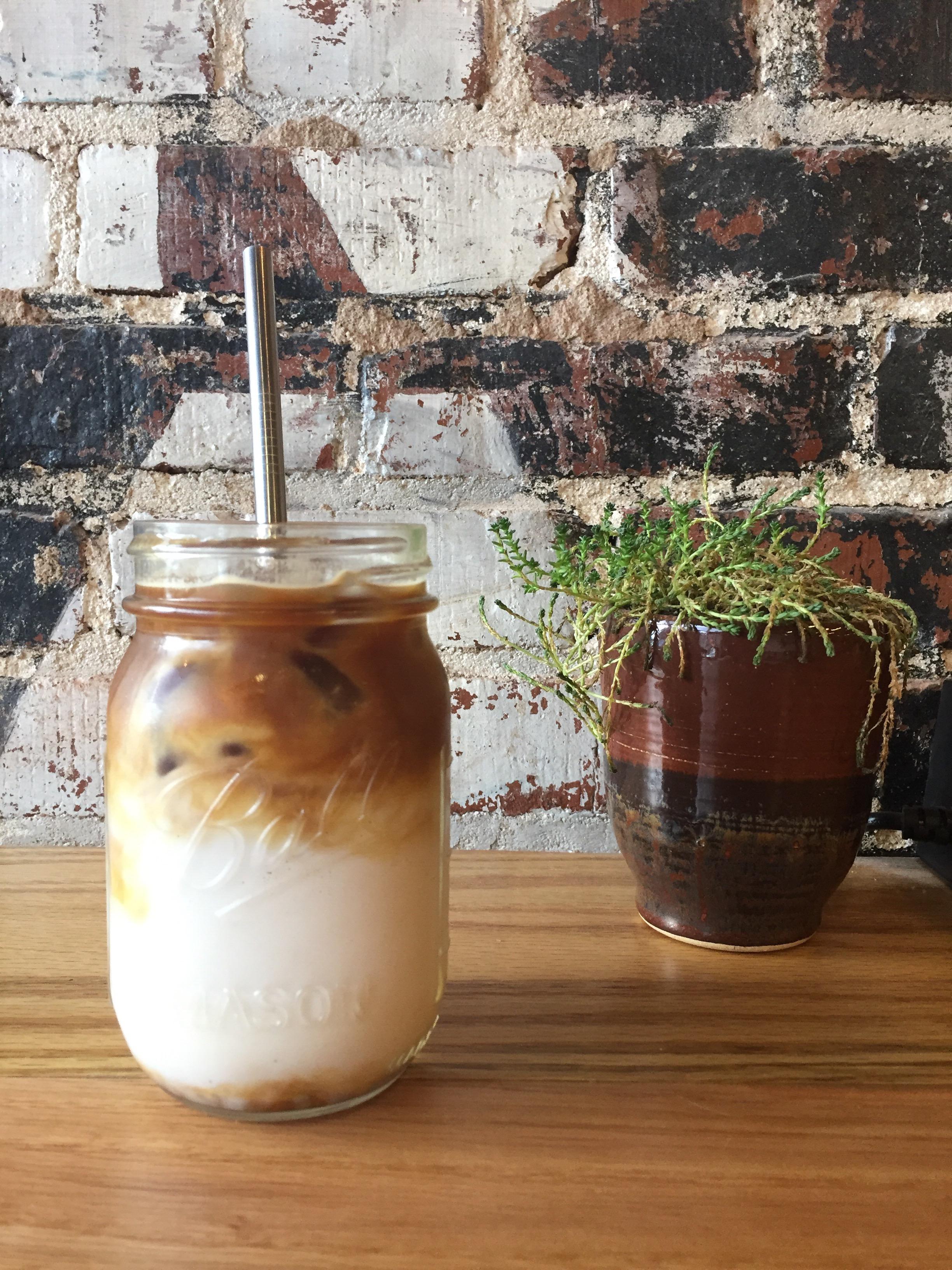 Iced almond milk latte at Belltower Artisans