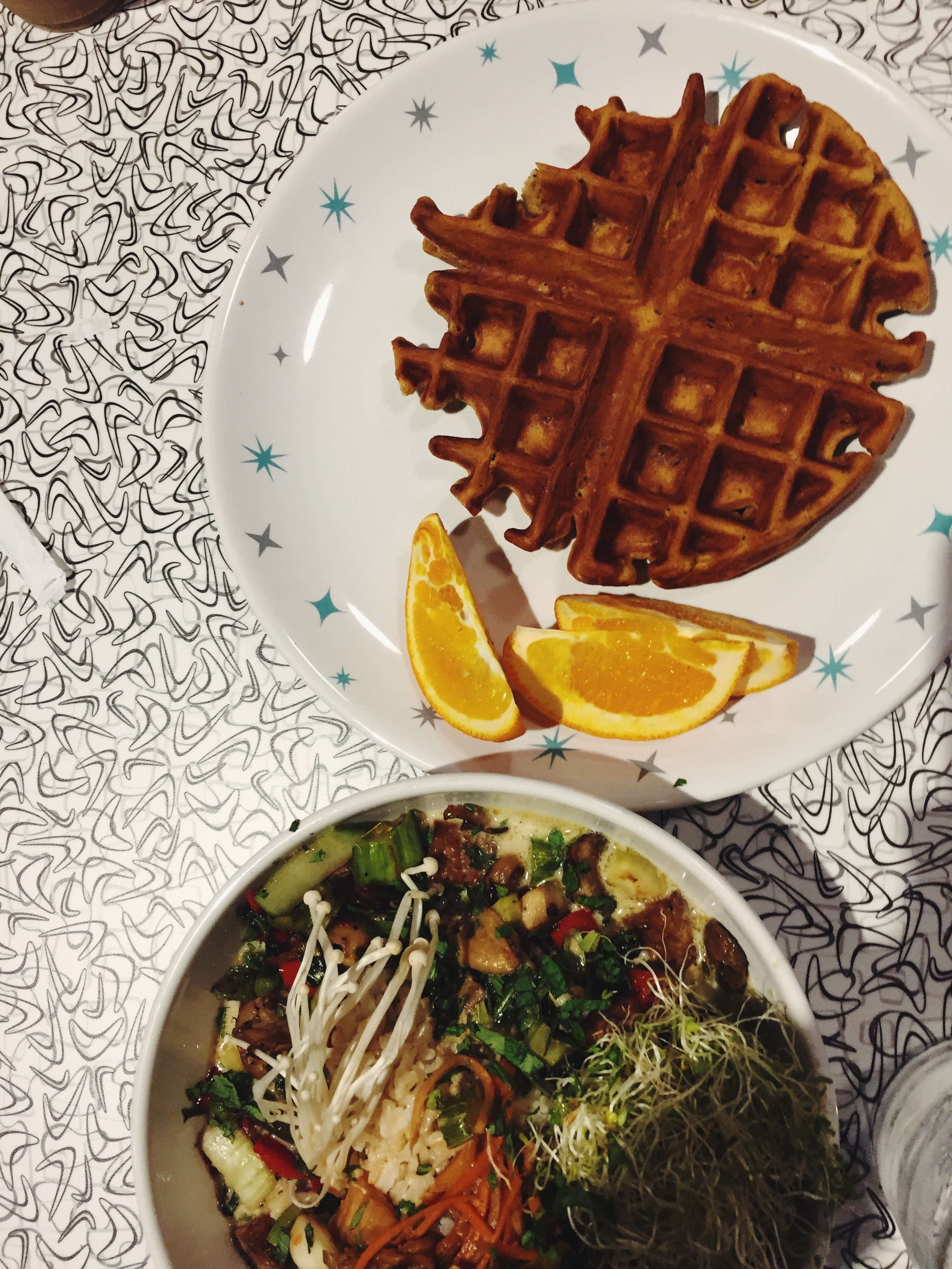 Sweet Potato Waffle and Thai Green Curry Bowl
