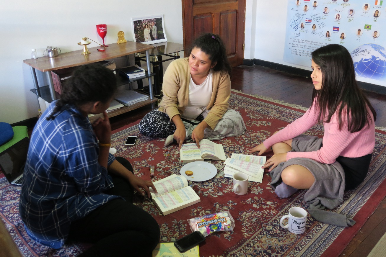 Sasha, her spiritual daughter, Andrea, and spiritual granddaughter Kimberly, read and discuss the Divine Principle together!