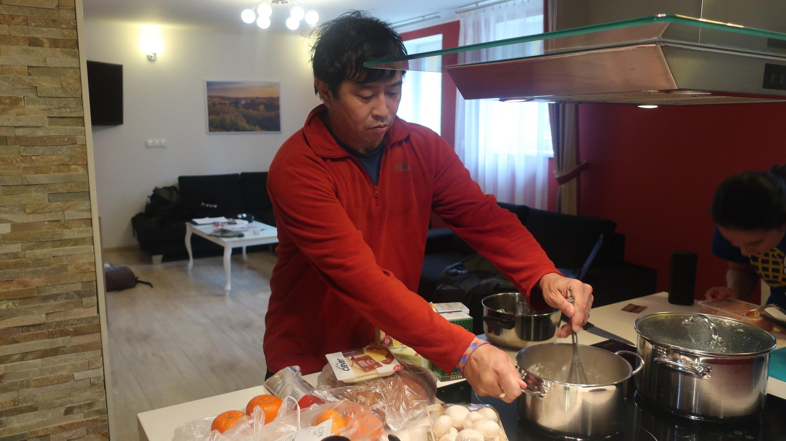 Kenzo-san preparing dinner