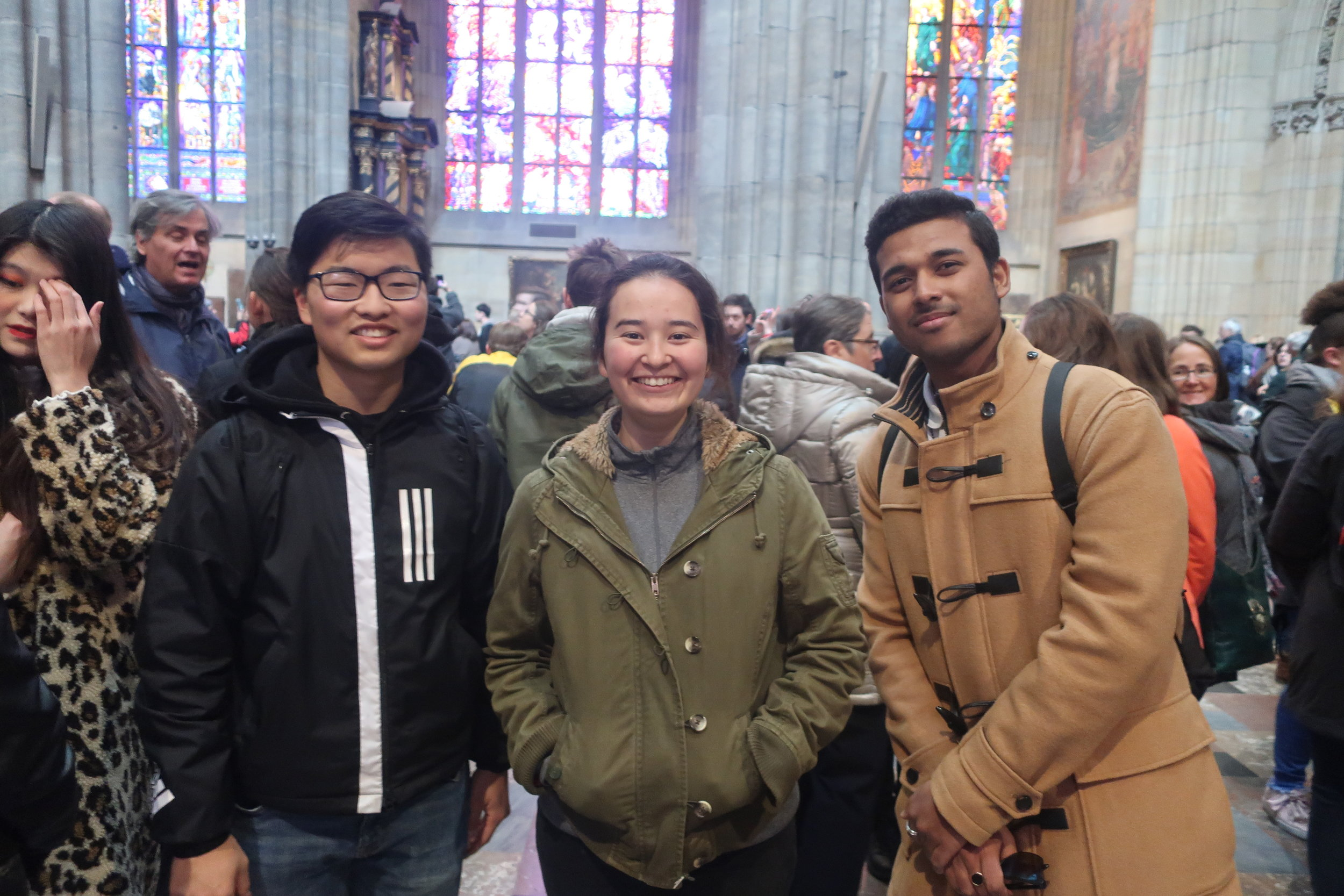 St. Vitus Cathedral with David and Younng Joo with Suyash, one year CARP guest