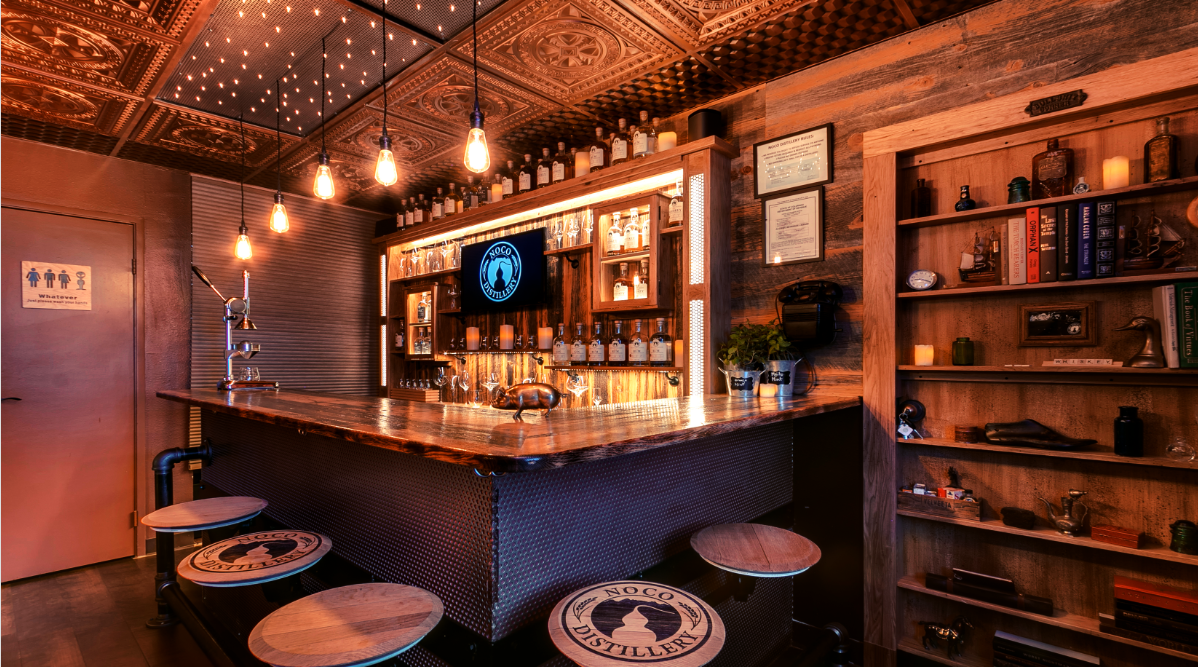 NOCO Distillery's Speakeasy & Tasting Room in Fort Collins, CO. Come enjoy a unique speakeasy style experience with amazing cocktails.